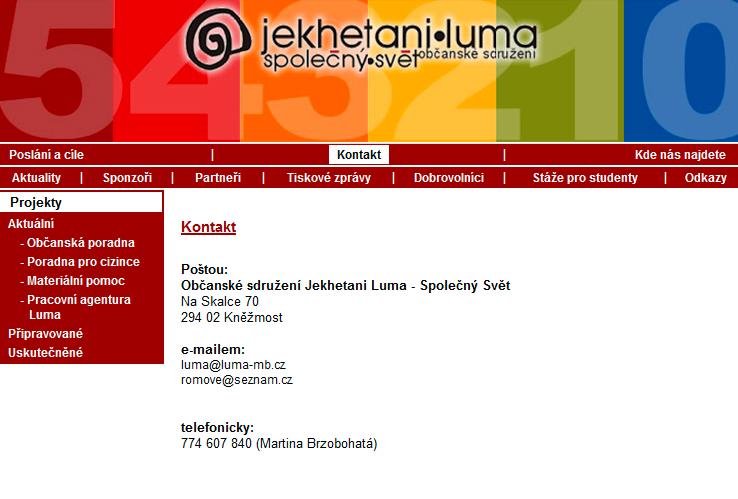 Web Luma Mladá Boleslav – původní verze