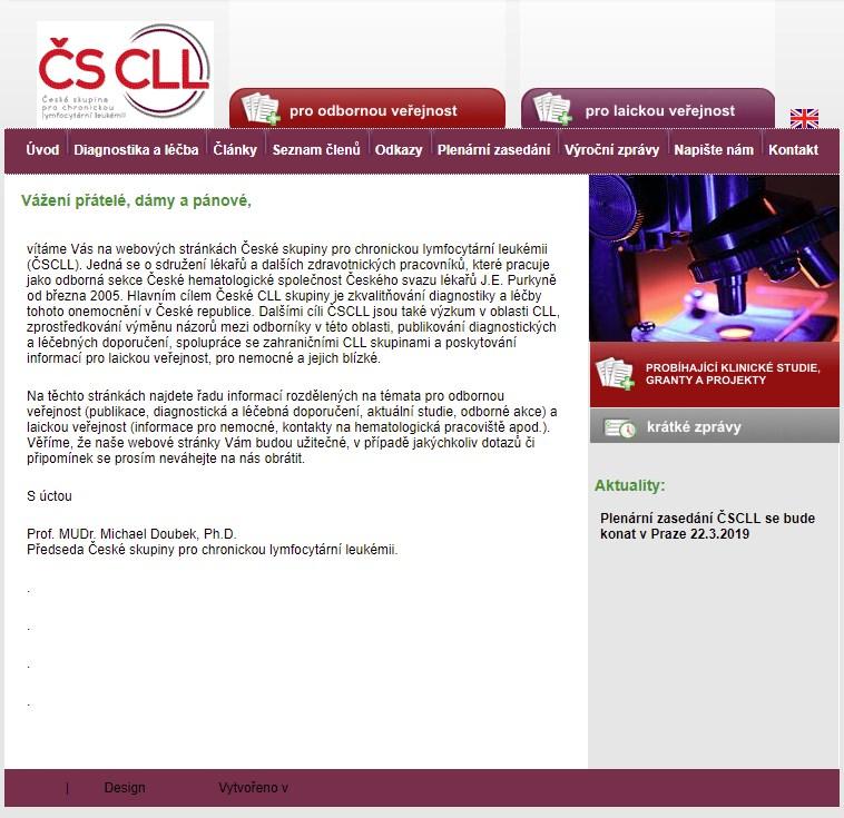 Původní Webové stránky České skupiny pro chronickou lymfocytární leukémii (ČSCLL)