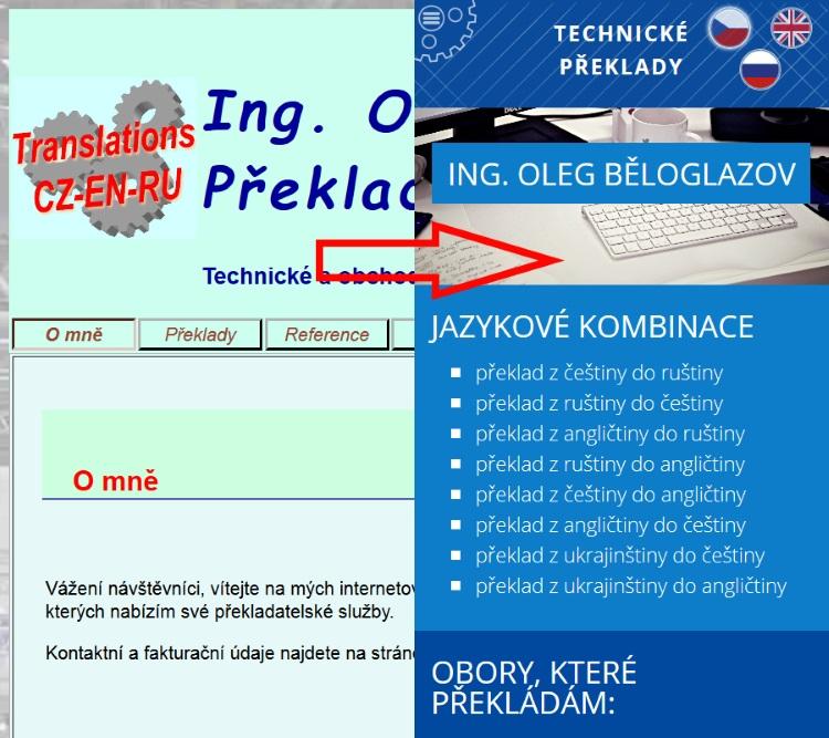 Překlady Oleg Běloglazov porovnání mobilní verze